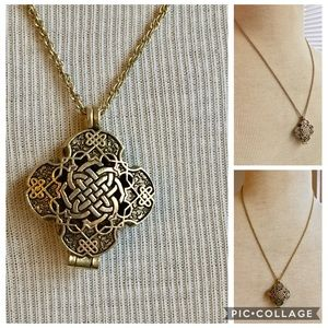 Celtic knot locket necklace gold CAMCO signed