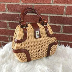 VTG Wicker Rockabilly Two Toned Box Purse Bag