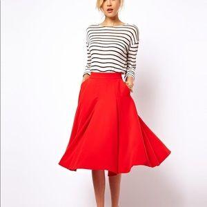 ASOS Red Flare Skirt