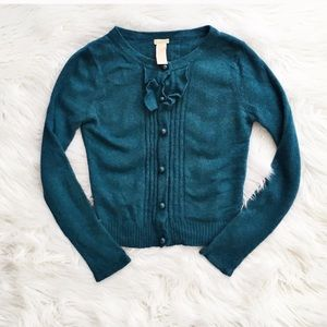 Tulle angora blend cardigan sweater