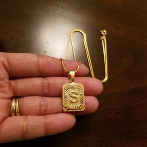 *S* 18K Gold Filled Initial Necklace