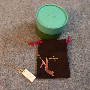 Kate Spade pink glitter shoe necklace