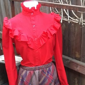 ❤️Vintage red ruffle blouse