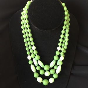 Vintage Triple Strand Modeled Beads