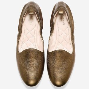 NWOB Cole Haan Gold Tali Ballet Flat, Grand OS