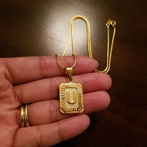 *U* 18K Gold Filled Initial Necklace