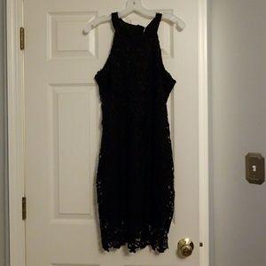 Black crocheted dress