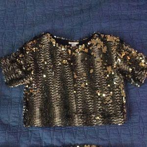 NWOT H&M Gold Sequin Crop Top