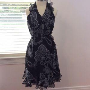 WHBM black & white lined halter dress size 0