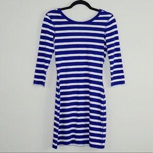 Express Blue Striped 3/4 Sleeve Dress