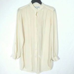 Vtg silk button front tunic top
