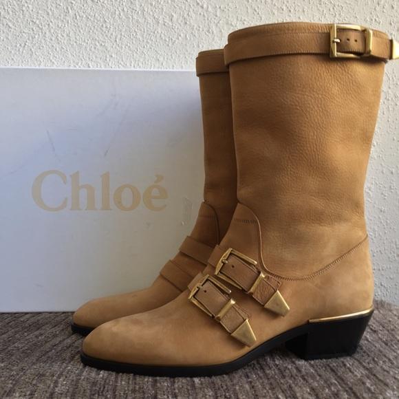 0a8e02c0ce72 Chloé Susanna Buckle Strap Mid Calf Leather Boot