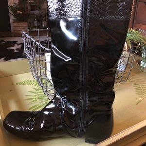 Coach tall patent leather boots