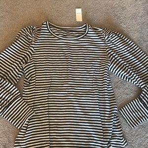 Loft stripe t shirt with blouson sleeves