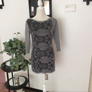 White House Black Market Gray Black Sweater Tunic