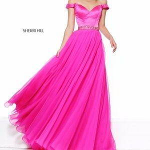 Authentic NEW Sherri Hill 50943 Fuschia Prom Gown