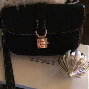 Dooney & Bourke Black Canvas & Leather wristlet!