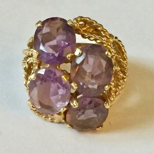 SOLID 14 k gold amethyst ring statement cocktail