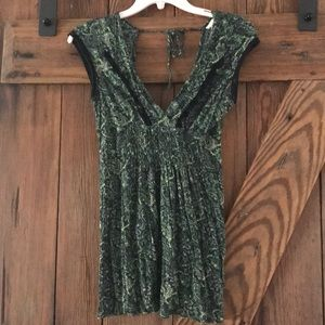 FREE PEOPLE Lace Paisley Top Small