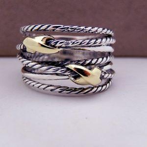 Yurman Crossover Ring in Sterling Silver & Gold