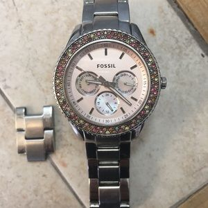 Fossil women's watch with stones around face