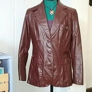Etienne Aigner Vintage Burgundy Leather Coat