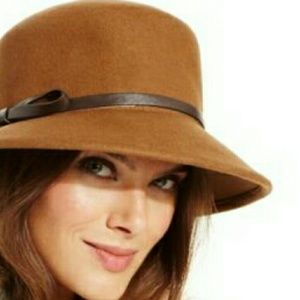 Nine west Felt Trench Coat Hat with leather trim.