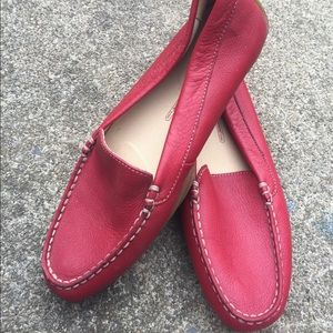Women's Rockport Red Leather Loafers Mocs Size 7.5