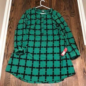 Kelly green window pane shirt dress