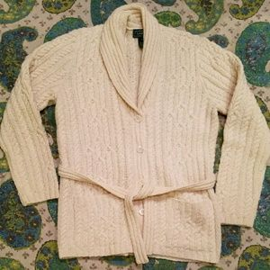RALPH LAUREN belted cableknit fisherman cardigan M