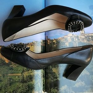 Authentic Prada Black Buckle Studded Stacked Heels