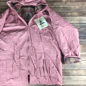 NWT LIGHT PINK PLAID LINED RAIN JACKET