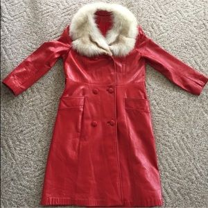 vintage 70's red leather fur collar trench coat