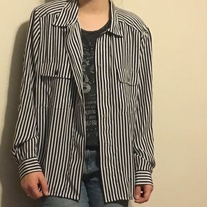 Vintage black and white striped button up