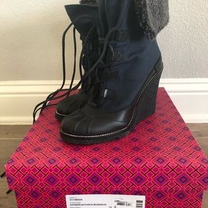 New Tory Burch Fairfax Wedge Boots SZ 10 with box