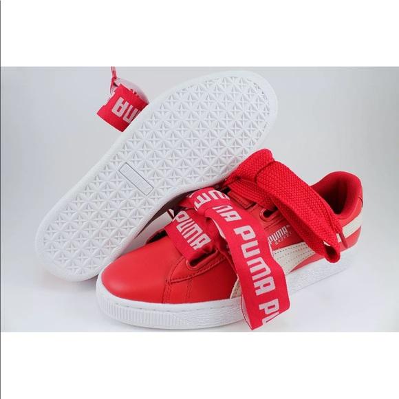 aa2cd2bb2d1093 Puma Basket Heart DE Women s Red White
