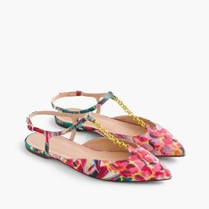 New! J.CREW point flats with chain/ pineapples-7.5