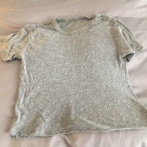 Monrow cropped short sleeve grey tee