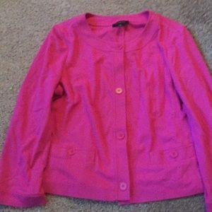 Talbots hot pink pointe knit blazer 3/4 sleeve 14