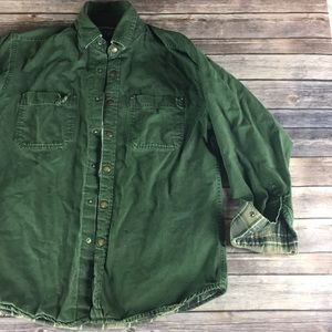 FOREST GREEN DISTRESSED VINTAGE SNAP BUTTON SHIRT