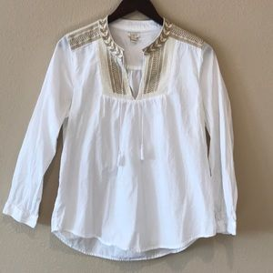 J. Crew embroidered blouse with tassels