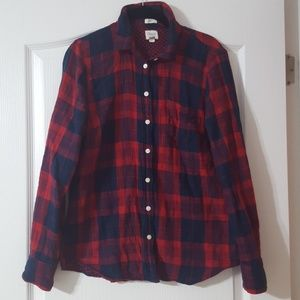 J. Crew Double-faced Washed Shirt Red/Navy Small
