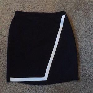J crew black skirt white trim knee length size 10