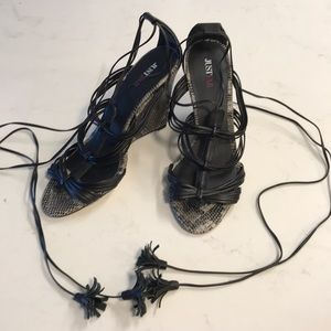 Black Wedge Lace-up Heels