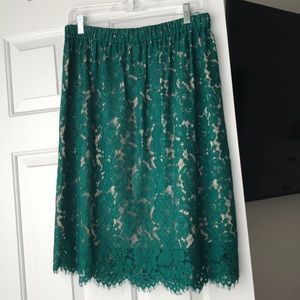 J. Crew Emerald Lace Skirt