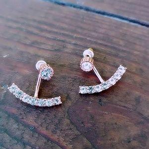 Rose gold diamond paved stud earrings