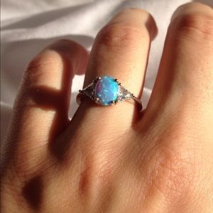 REAL SILVER BLUE OPALITE ring!