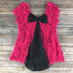 HOT PINK LACE BOW BACK BLOUSE