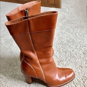 """UGG """"Stella"""" Stacked Heel Leather Boots"""