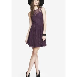 Dark berry lace skater dress